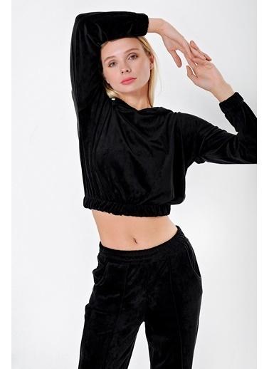 Jument Kadın Havlu Kadife Kapüşonlu Beli Ve Kolu Lastikli Kısa Crop Sweat Siyah
